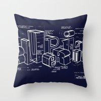 blueprint Throw Pillows featuring Blueprint by Matthew McKenna