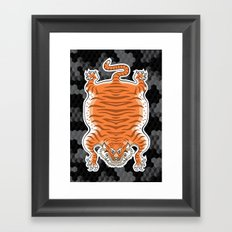 TIBETAN TIGER GOLDEN (black) Framed Art Print