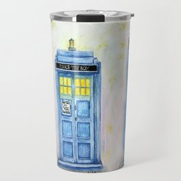 TARDIS watercolor Travel Mug