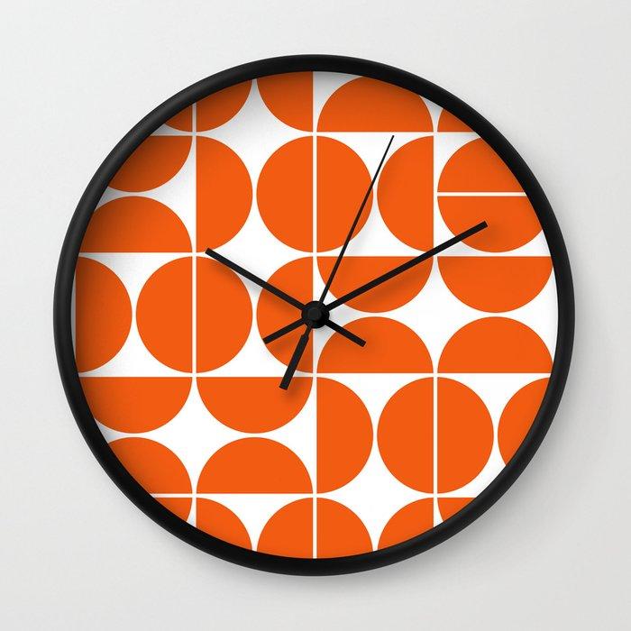 Mid Century Modern Geometric 04 Orange Wall Clock