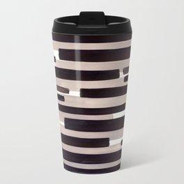 Grey Primitive Stripes Mid Century Modern Minimalist Watercolor Gouache Painting Colorful Stripes Wa Travel Mug