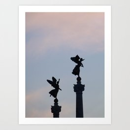 Vittoriano angels at sunset 1 Art Print