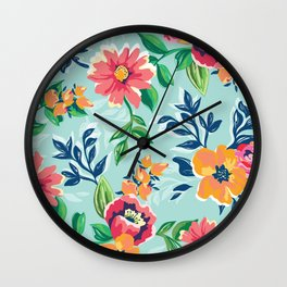 Vintage Inspired Flower Pattern Wall Clock