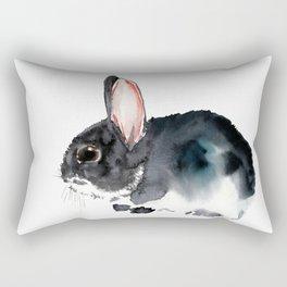 Bunny, Cute gray bunny Nursery Art children room watercolor bunny art Rectangular Pillow