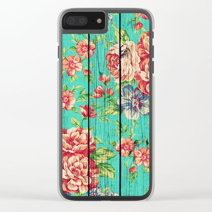 Flowers on Wood 06 Clear iPhone Case