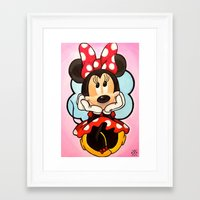minnie mouse Framed Art Prints featuring Minnie  by Diego Navarro