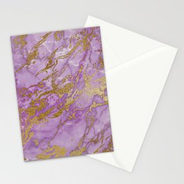 Gold Glitter and Ultra Violet Marble Agate Stationery Cards