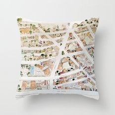 Greenwich Village Map by Harlem Sketches Throw Pillow