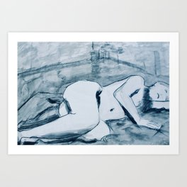 In the studio- charcoal and ink nude study of model reclining. Art Print