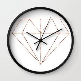 Rose gold foil diamond Wall Clock