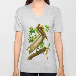 Brown Pelican Vintage Illustration Unisex V-Neck