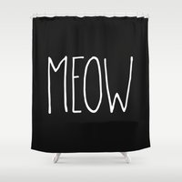 meow Shower Curtains featuring Meow by Hipster