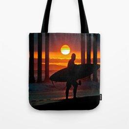 Huntington Beach Pier / Surfer Sunset Tote Bag