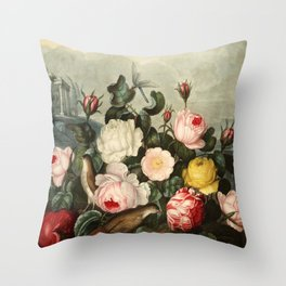 Pink  Red Floral : New Illustration Of The Sexual System Throw Pillow