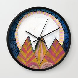 Moon Over Mountains at Dusk Wall Clock