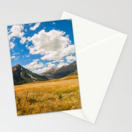 New Zealand landscape with golden grasses in South Island Stationery Cards