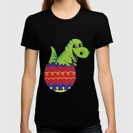 Cute Tyrannosaurus Easter Egg Hunting Dinosaur Bunny print T-shirt