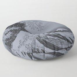 Silver Japanese Great Wave off Kanagawa by Hokusai Floor Pillow