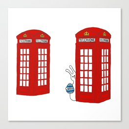 Telephone Box and Bunny Canvas Print