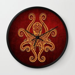 Intricate Red and Yellow Octopus Wall Clock