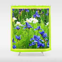 WHITE-BLUE IRIS & CHARTREUSE FERNS GARDEN Shower Curtain