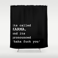 karma Shower Curtains featuring Karma by Sarah Harris (Lily and Vine Ltd)