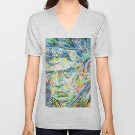 ANTHONY BURGESS - watercolor portrait Unisex V-Neck