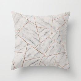 White Marble Silver Glitter Geometric Glam #1 (Faux Glitter) #geo #decor #art #society6 Throw Pillow