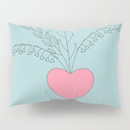 grey doodle pattern with hearts Pillow Sham