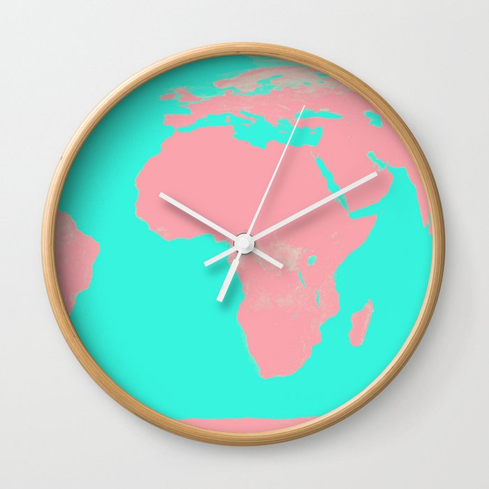 Undistorted World Map Pink Aqua Wall Clock by vintageby2sweet