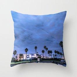 Nighttime in a beach town Throw Pillow