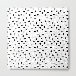 Black hand drawn pluses pattern on white Metal Print