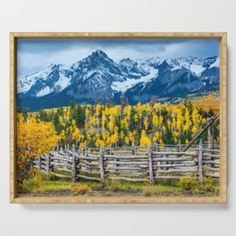 Sneffels Range Ranch in Fall - Ridgway - Colorado Serving Tray