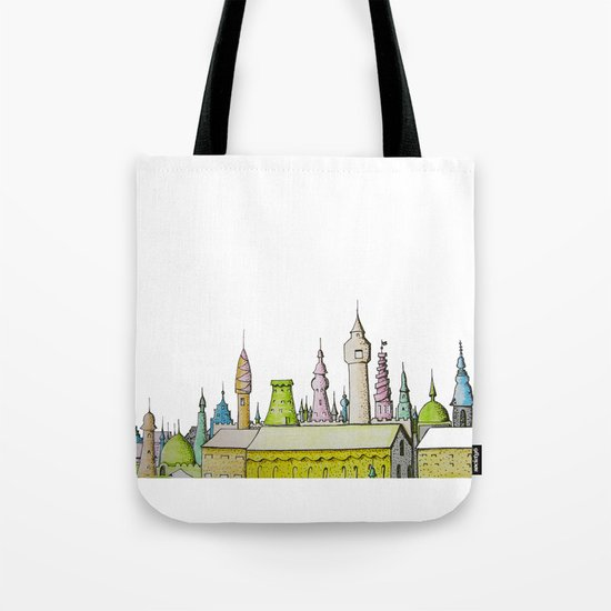 тhe city's rooftops painted with delicate flowers Tote Bag