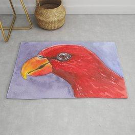 Lory parrot bird watercolor Rug