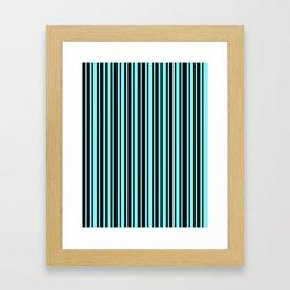Electric Blue and Black Vertical Var Size Stripes Framed Art Print