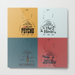 Four Hitchcock movie poster in one (Psycho, The Birds, North by Northwest, Notorious), cinema, cool Metal Print