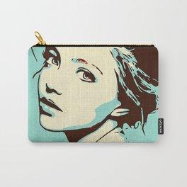 Blue Girl Looking Over Shoulder Portrait Digital Art Vector Illustration Carry-All Pouch