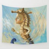 sea horse Wall Tapestries featuring Sea horse by Nataliya Derevyanko