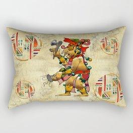 Tribal God War Dance Folk Art Rectangular Pillow