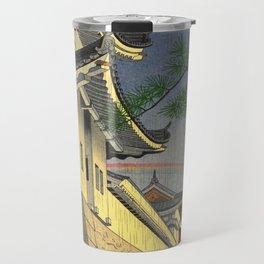 Asano Takeji Japanese Woodblock Print Vintage Mid Century Art Medieval Castle Rainbow Travel Mug