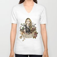 alice wonderland V-neck T-shirts featuring Wonderland by Juu Monteiro
