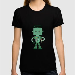 Giant green robot with a toy human T-shirt