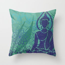 buddha mandala leaves  Throw Pillow