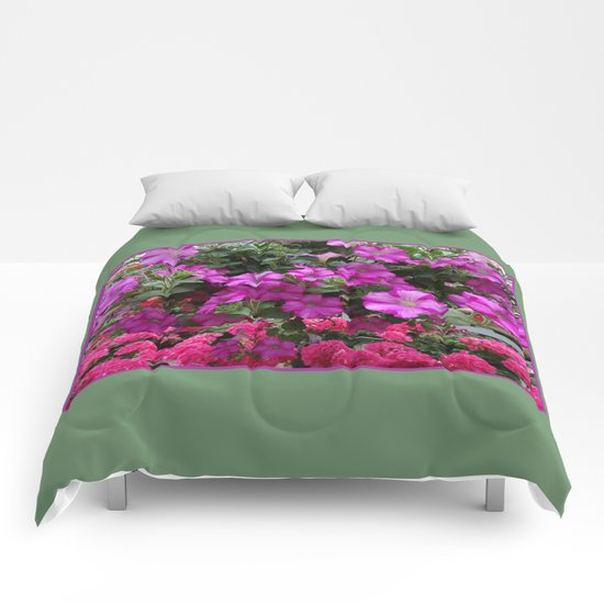 Pink Flowers on Green Comforters