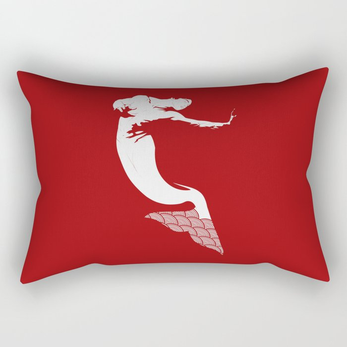 Merman - Red & White - Mermay 2019 Rectangular Pillow