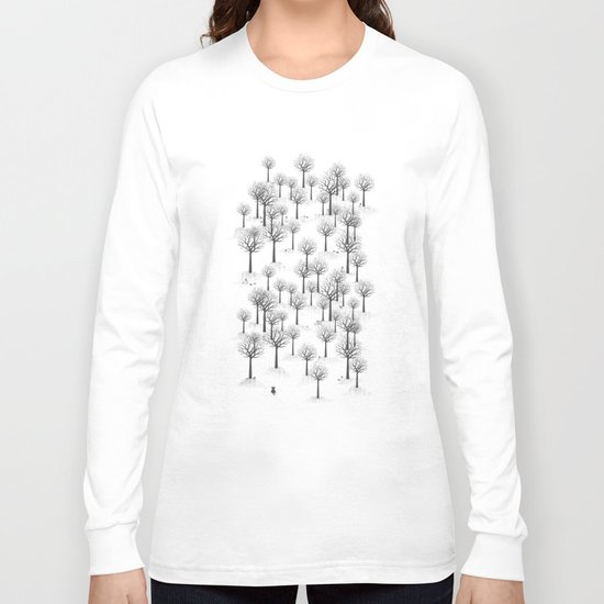 Winter Forest - Bunnies and Hound / by Friztin Long Sleeve T-shirt