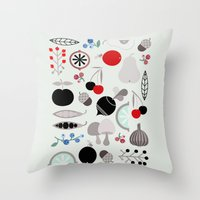 50s Throw Pillows featuring Mushroom Berries Nuts and Fruits / Classic 50s pattern by In The Modern Era