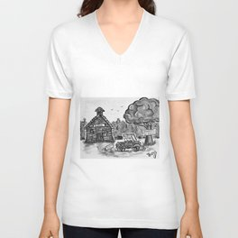 School House, Black and White Print of Primitive Art, Painting by Faye Unisex V-Neck