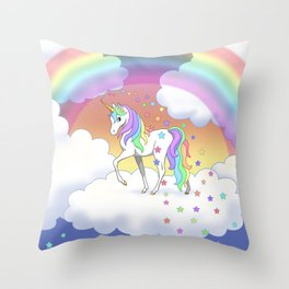 Pretty Rainbow Unicorn and Stars Throw Pillow